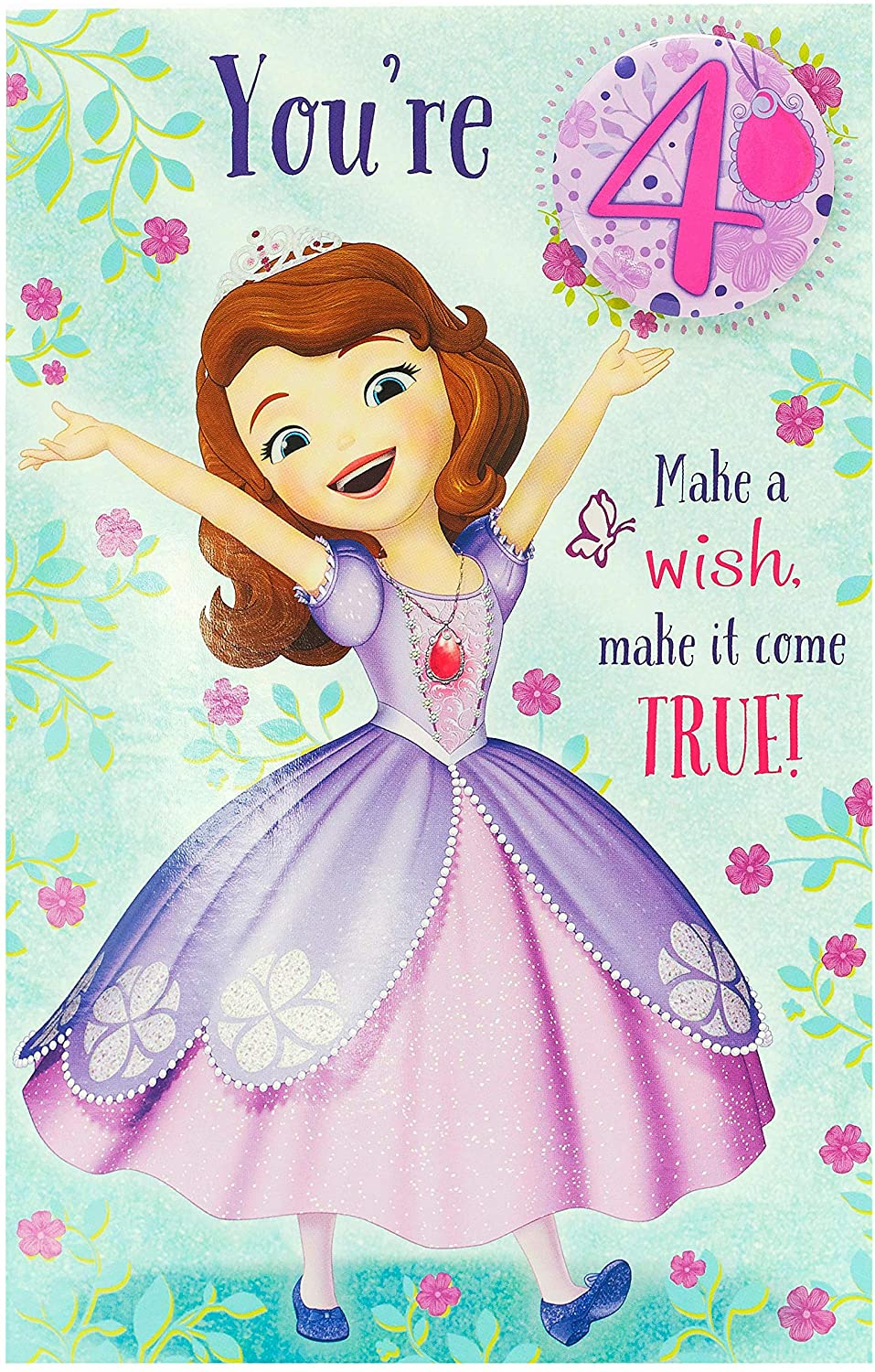 Sofia the First Age 30 Birthday Card with Badge