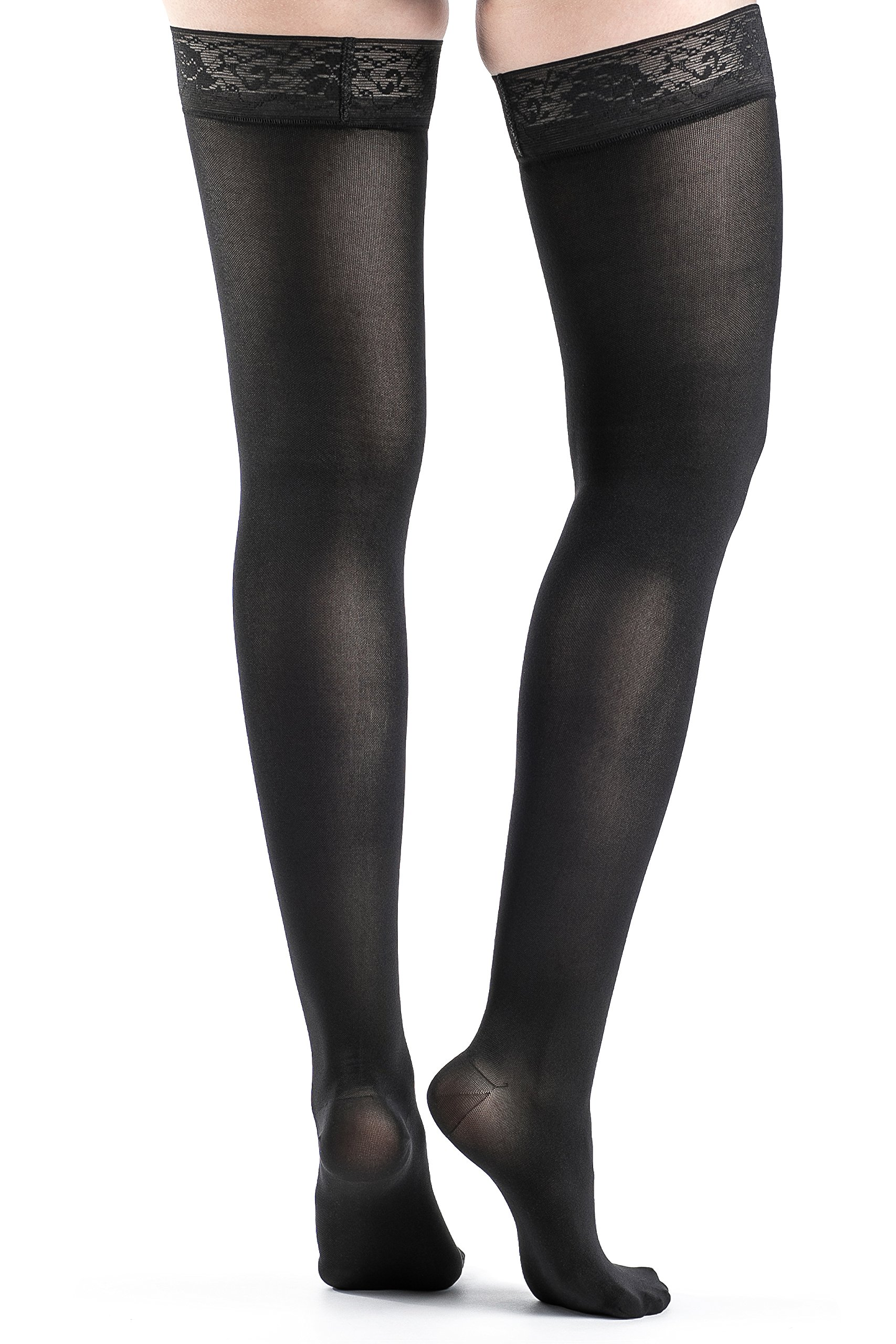 Soft Opaque 20-30 mmHg Closed Toe Thigh High Sock Size: Small Long (SL), Color: Black 99