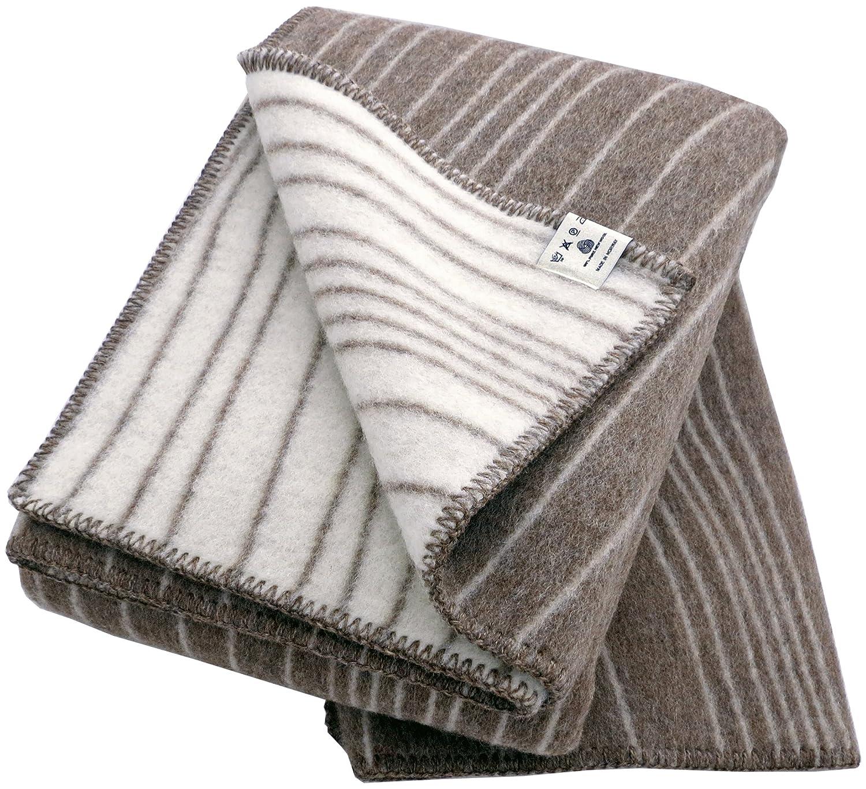 Roros Tweed  Creme-braune Doubleface Wolldecke'Baumlinien' 100% Schurwolle 130 cm x 200 cm, ca 1400g