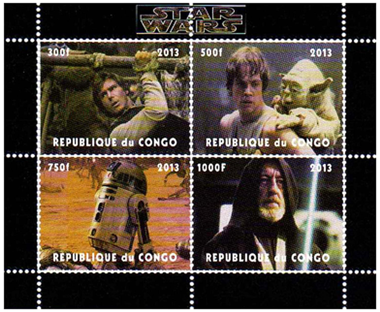 2015 Star Wars Francobolli da Collezione Limpero colpisce ancora con Yoda e limperatore//MNH Ciad