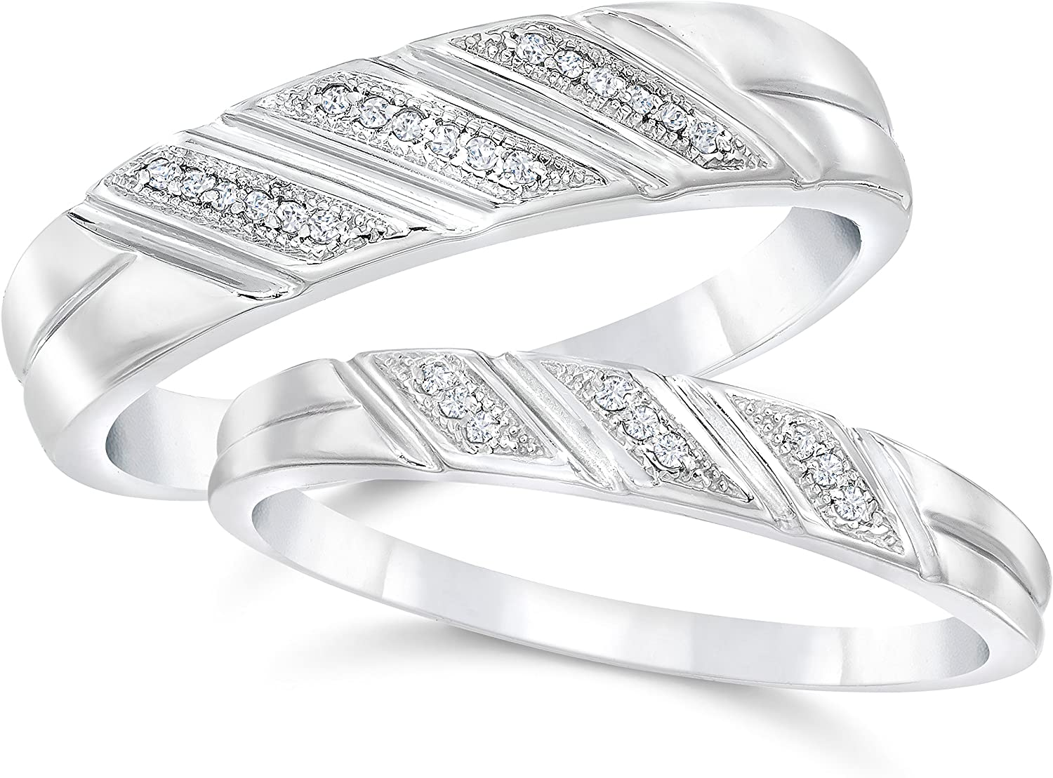 It is an image of Amazon.com: Diamond Wedding Rings Set 34/34cttw Matching His Hers
