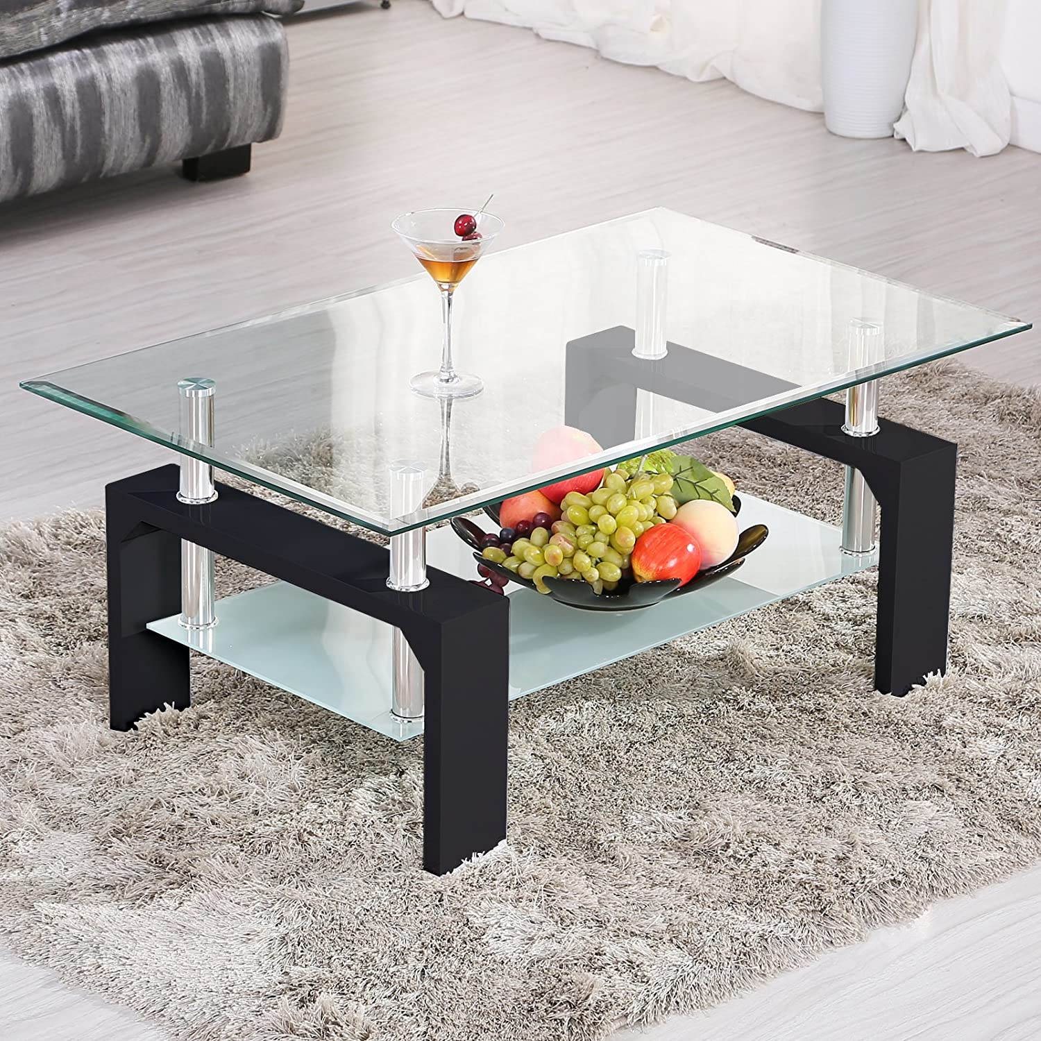 SUNCOO Coffee End Side Table with Shelves Living Room Furniture Rectangle Shape Clear Glass Top&Glossy Black Finih Legs