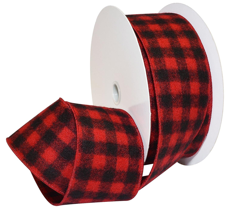 Morex Ribbon Red/Black French Wired Buffalo Plaid Ribbon 7457.60/33-613