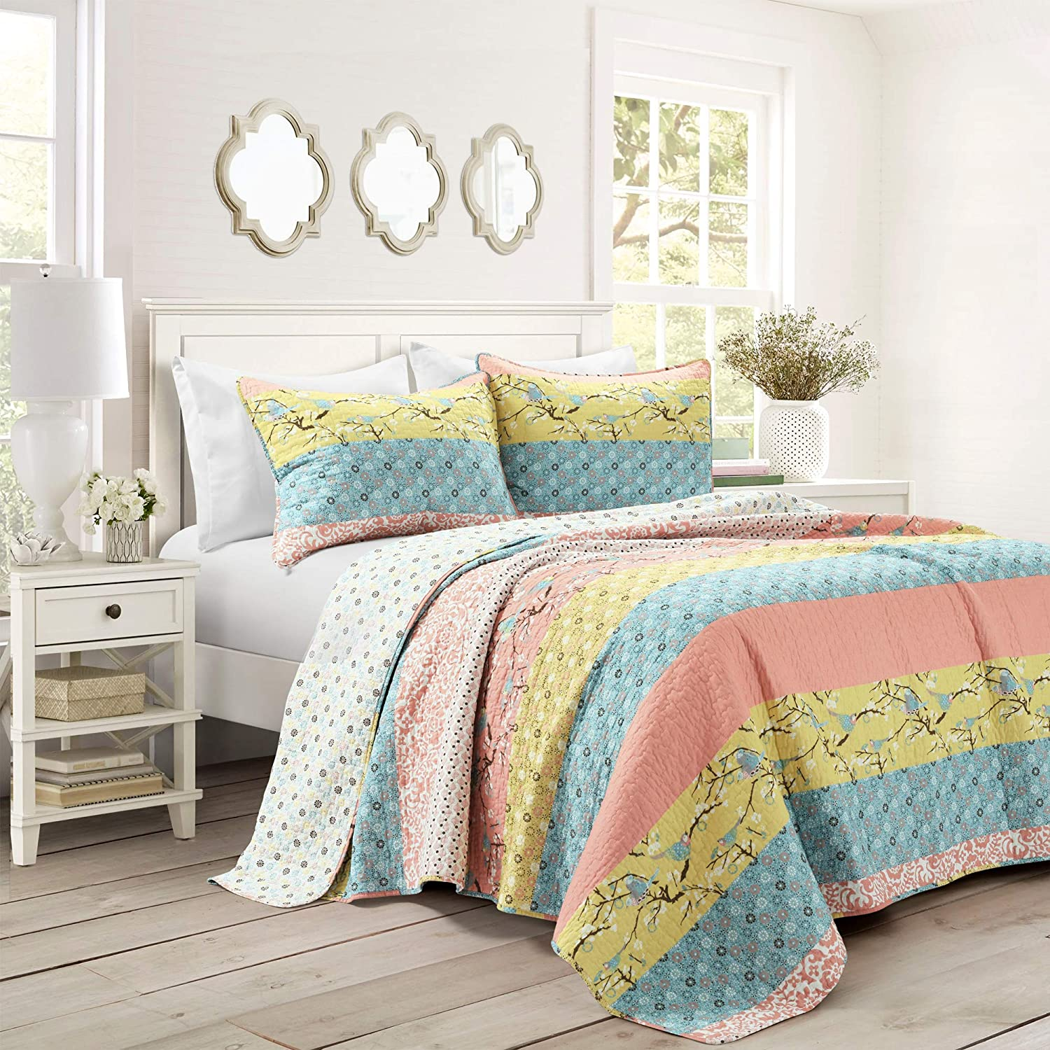 Lush Decor Royal Empire Quilt Striped Pattern Reversible 3 Piece Bedding Set, King, Blue and Coral