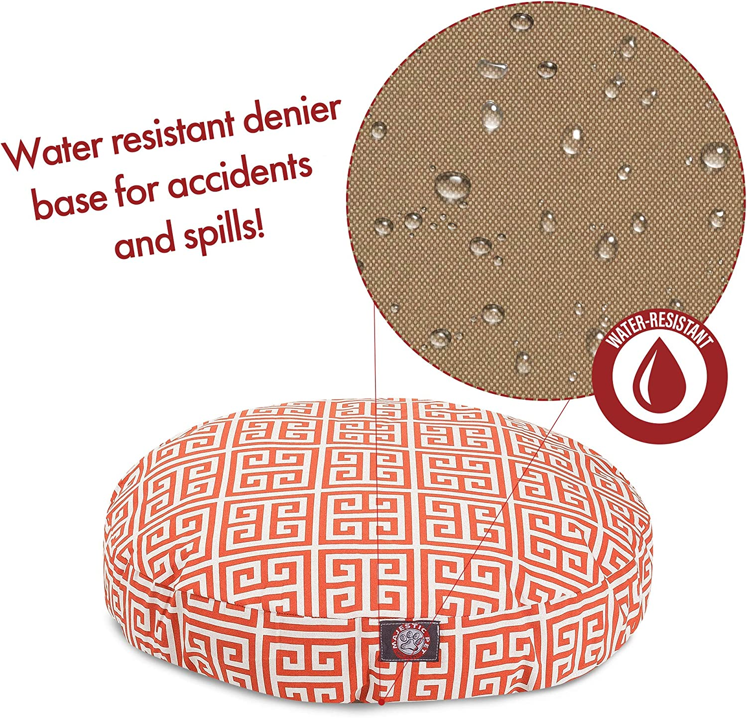 Orange Towers Medium Round Indoor Outdoor Pet Dog Bed With Removable Washable Cover By Majestic Pet Products