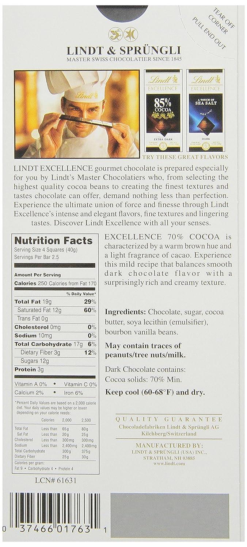 Amazon.com : Lindt Excellence Dark Chocolate 70% Cocoa, 3.5-Ounce ...