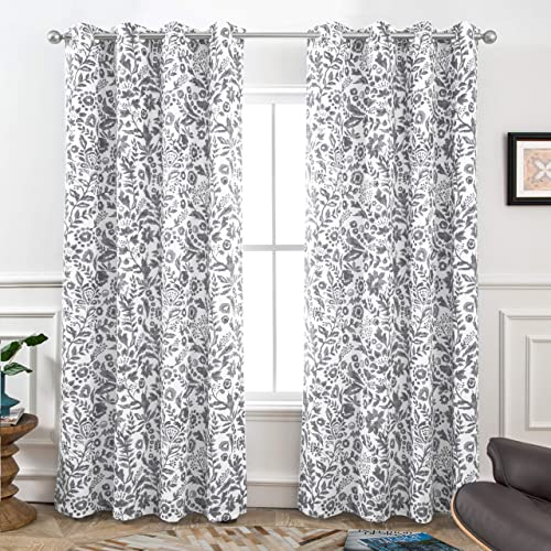 DriftAway Julia Sketch Blackout Room Darkening Grommet Lined Thermal Insulated Energy Saving Window Curtains 2 Layers 2 Panels Each Size 52 Inch by 96 Inch Gray