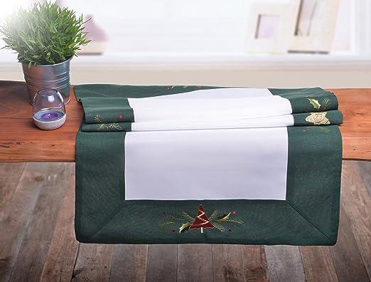 Camino de mesa de colour verde y blanco de la Navidad para árbol ...