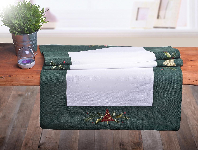 Verde Bianco Runner Natale Natale Runner ADDOBBI NATALIZI tovaglia rettangolare Green White, Plastica, verde/bianco, 40 x 140 shop_decoking