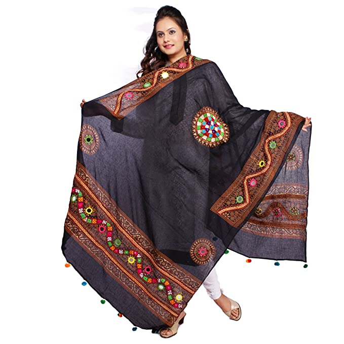 Banjara Women'S Cotton Stoles & Dupattas Kutchi Mirrorwork (Kch01_Black _Handicraft Dupatta_Free Size) Dupattas & Stoles at amazon