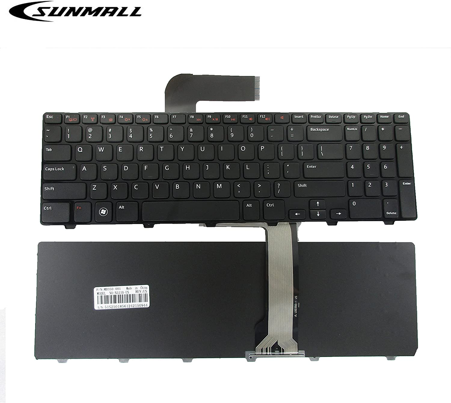 N5110 Keyboard for DELL Inspiron,SUNMALL Replacement Laptop Keyboard with Frame for DELL Inspiron 15R N5110 M501Z M511R Ins15RD-2528 2728 2428