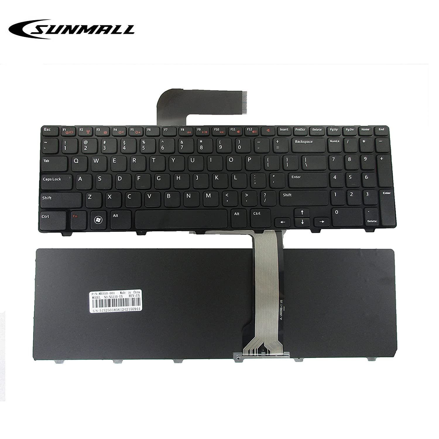 N5110 keyboard for DELL Inspiron, SUNMALL Replacement Laptop Keyboard with Frame for DELL Inspiron 15R N5110 M501Z M511R Ins15RD-2528 2728 2428 (6 Months Warranty) Keyboardseller N5110 M5010