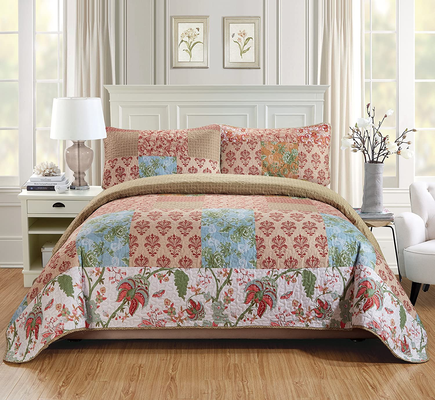 MK Home Over Size Quilted Coverlet Bedspread Set Patchwork Floral Squares Beige Red Light Blue Green White New # Valencia… (King/California King)
