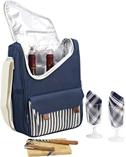 Insulated Wine Carrier with Stainless Steel Glasses- Portable Wine Bag Carrier Case for Wine Accessories- Water Resistant Wine Tote Bag Nautical Wine Purse Picnics and Boating Wine Gifts for Women