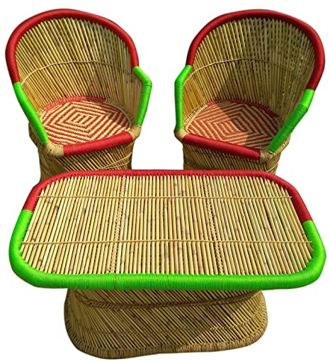 Ecowoodies Lornica Handicraft Cane Bamboo Outdoor Furniture Chair for Balcony Sitting for Garden Sets (2+1)