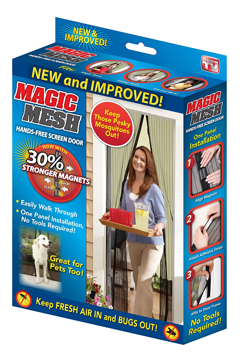 Magic Mesh Hands Free Magnetic Screen Door 83 Inch X 39