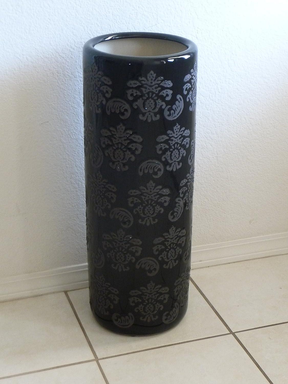 Umbrella Stand Tall Ceramic Black US1-24 Excellent Accents Inc.
