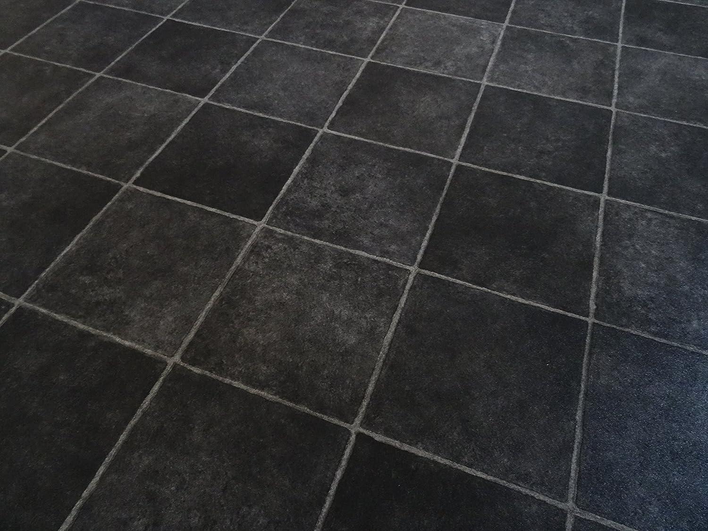 schwarz diagonale Fliesen von Alpha-Tex 9.95/€//m/² kleines Musterst/ück PVC schwarze