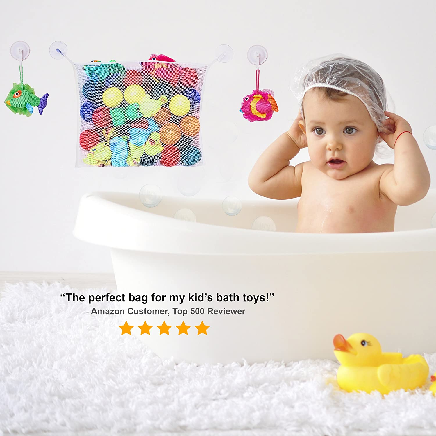Amazon Bath Toy Organizer Storage Net Bag Holder for