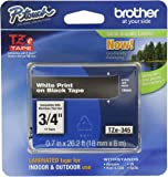 "Brother P-touch Genuine TZe-345, ~3/4"" (0.7"") White on Black Standard Laminated Tape –26.2 ft(8m) (TZE345)"