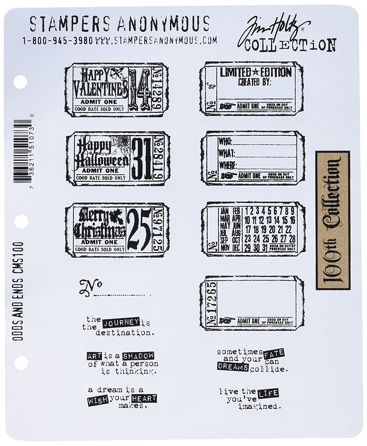 Odds and Ends Stampers Anonymous CMS-LG-100 Tim Holtz Large Cling Rubber Stamp Set