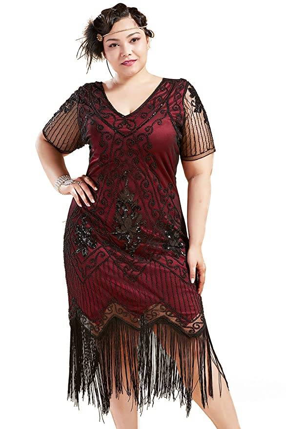 1920s Plus Size Flapper Dresses, Gatsby Dresses, Flapper Costumes BABEYOND Plus Size 1920s Art Deco Fringed Sequin Dress Flapper Gatsby Costume Dress for Women $57.99 AT vintagedancer.com