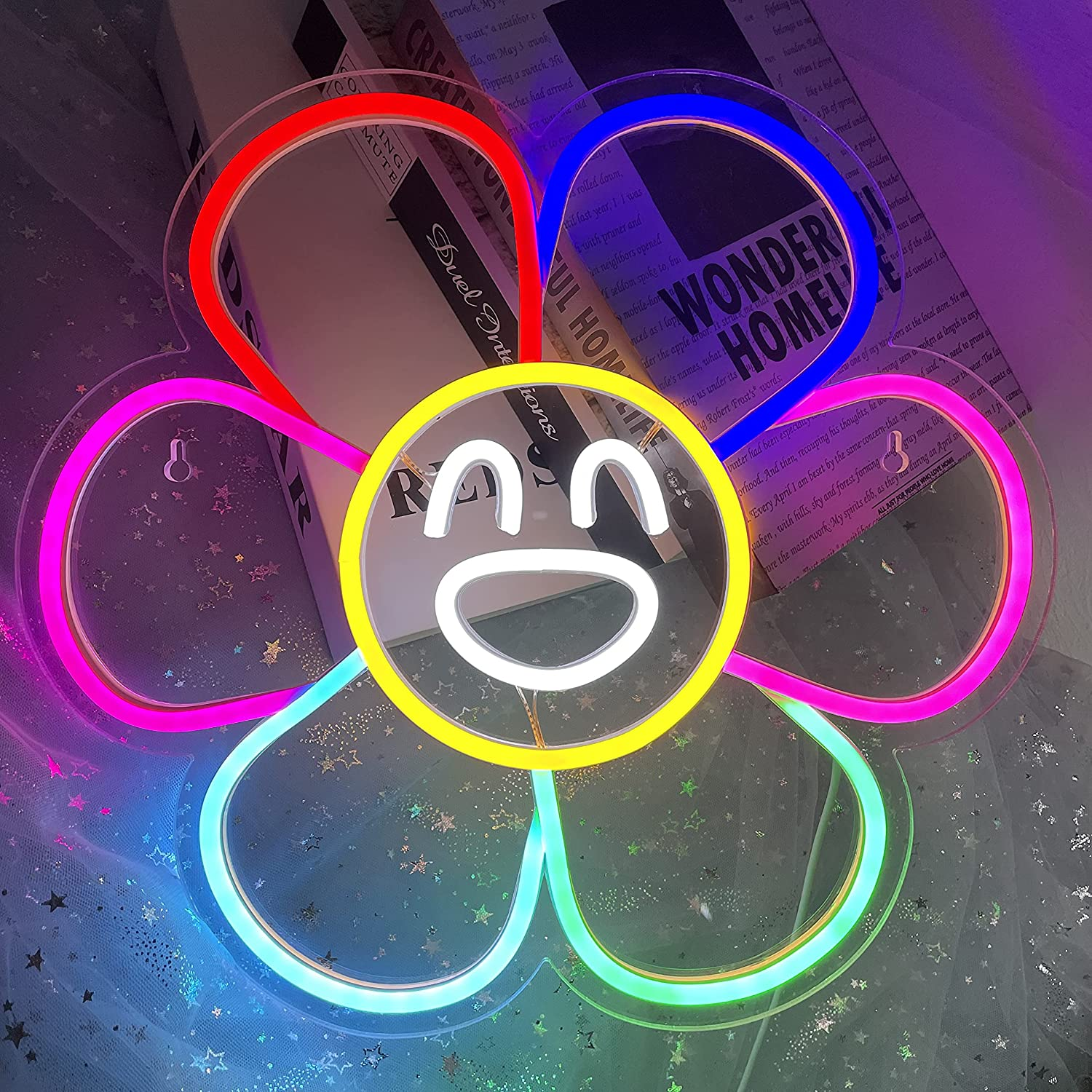 Smiley Face Sunflower Neon Sign Light LED Smiley Face Gifts Light Up Sign for Bedroom Wall Decor Neon Lights Wall Sign Smile Face Rainbow Flower LED Sign Party Décor Sign Lights