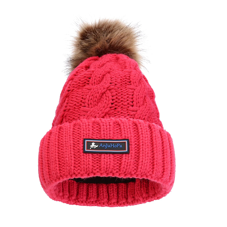 AnJuHoPa Fluffy Bobble Hat Knit Beanie Faux Fur Pom Pom Soft Fleece Lined