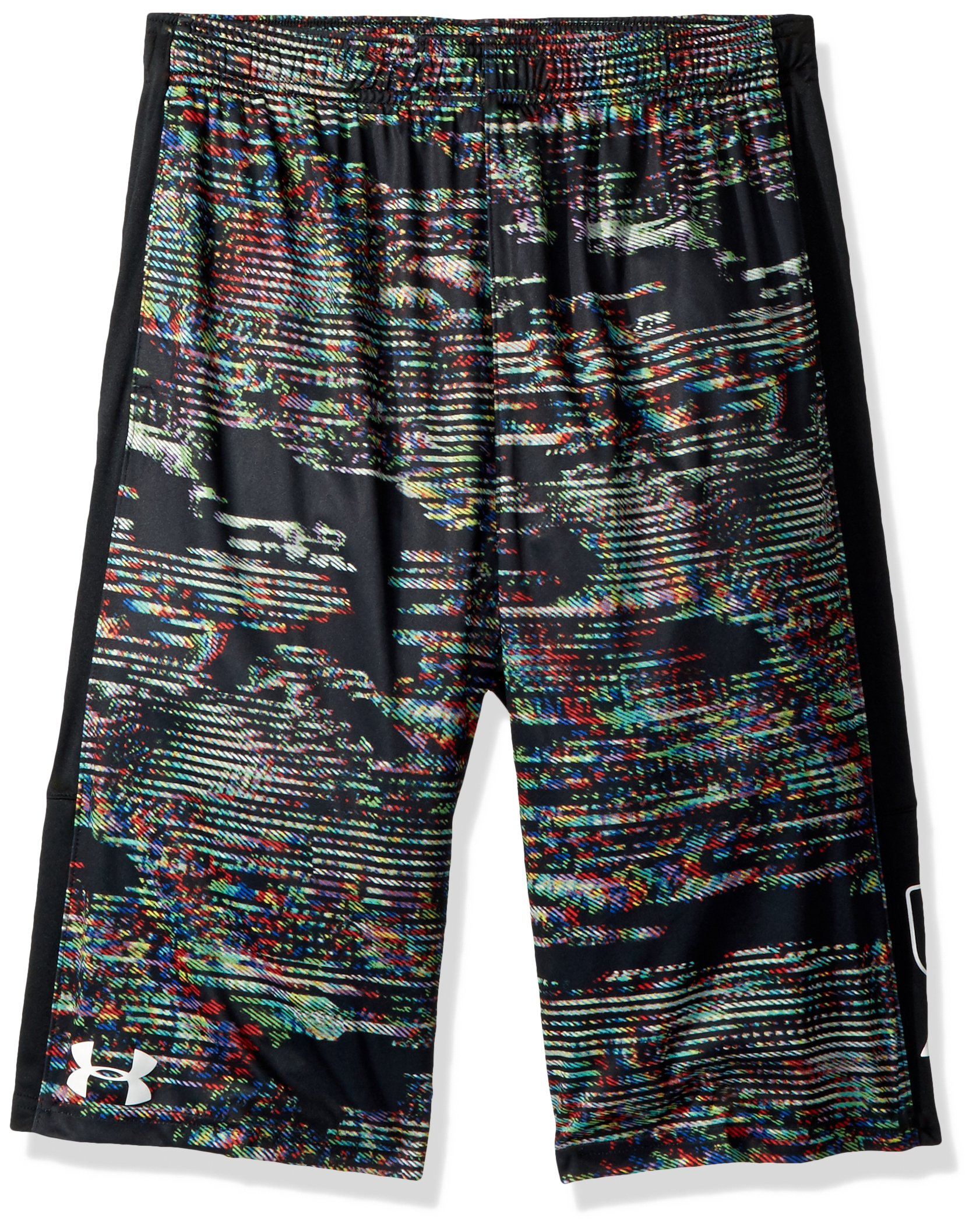 Under Armour Boys' Instinct Printed Shorts,  Black (012)/White  Youth X-Small