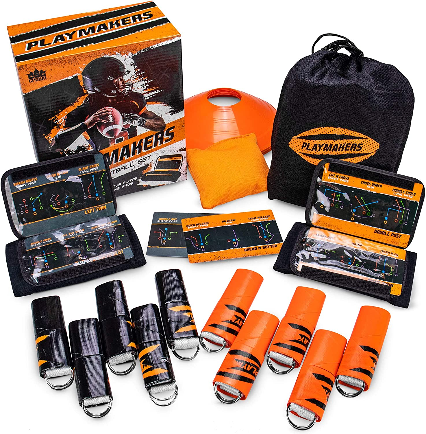 Playmakers Flag Football Set: Call Plays Like the Pros – Includes 2 Teams of 5 Flags, 2 QB Wristbands, 6 Double-sided Play Inserts (18 Plays), 10 Field Marker Cones, Rulebook, & Yard Marker Bean Bag
