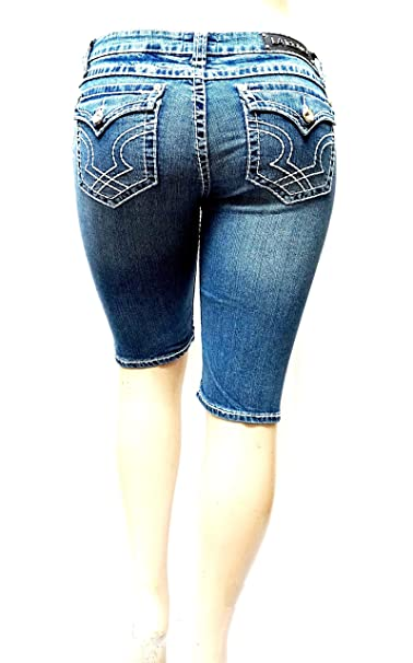 5411418ac87 LA Idol Premium Rhinestone Women s Missy Plus Size Blue Curvy Denim Jeans  Bermuda Shorts 15 17
