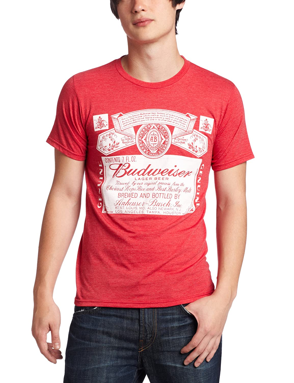 b9ab7af2c Amazon.com: Mad Engine Men's Budweiser Old Timer T-Shirt, Red Heather,  Small: Clothing