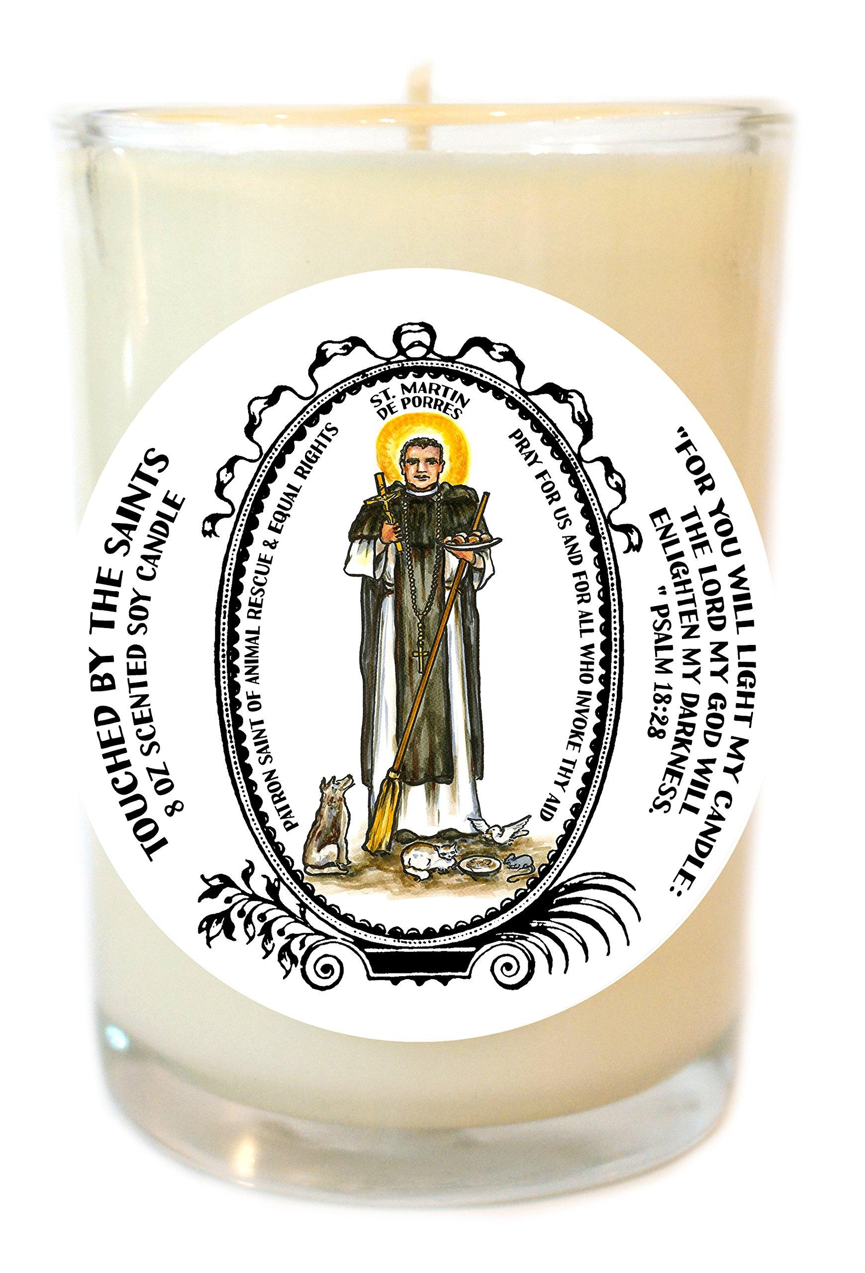 St Martin de Porres Equal Rights, Animal Rescue 8 Oz Scented Soy Glass Candle