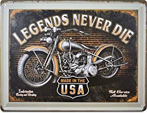 K&H Retro Antique Metal Tin Wall Sign Poster Home Diner Restaurant Wall Decor 12X16-Inch (Legends Never Die)