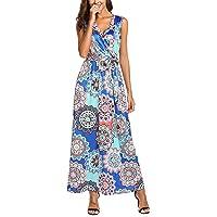 SimpleFun Womens Bohemian Printed Wrap V-Neck Sleeveless Maxi Dress