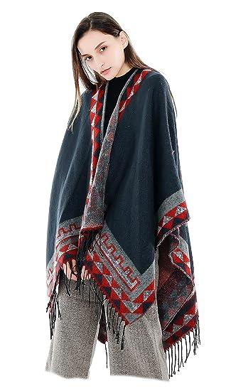 f71c42bd165 Femme Fille Unie Extra Large Très Épais Écharpe Wrap Châles Etole Ponchos  Glands Tassel  Amazon.fr  Vêtements et accessoires