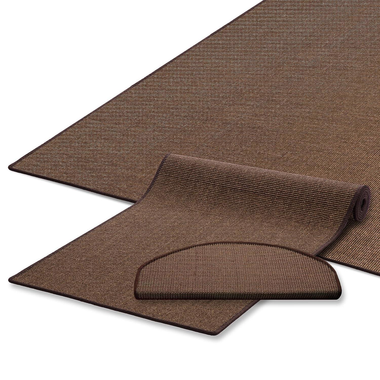Naturfaser Sisal Stufenmatten   Uni Braun   Qualitätsprodukt aus Deutschland   Kombinierbar mit Sisalläufer   65x23,5 cm   halbrund   15er Set