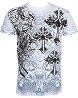 Sakkas Croix, Epée et Bouclier En relief argent métallique Manches courtes Col rond Coton T-Shirt Fashion homme