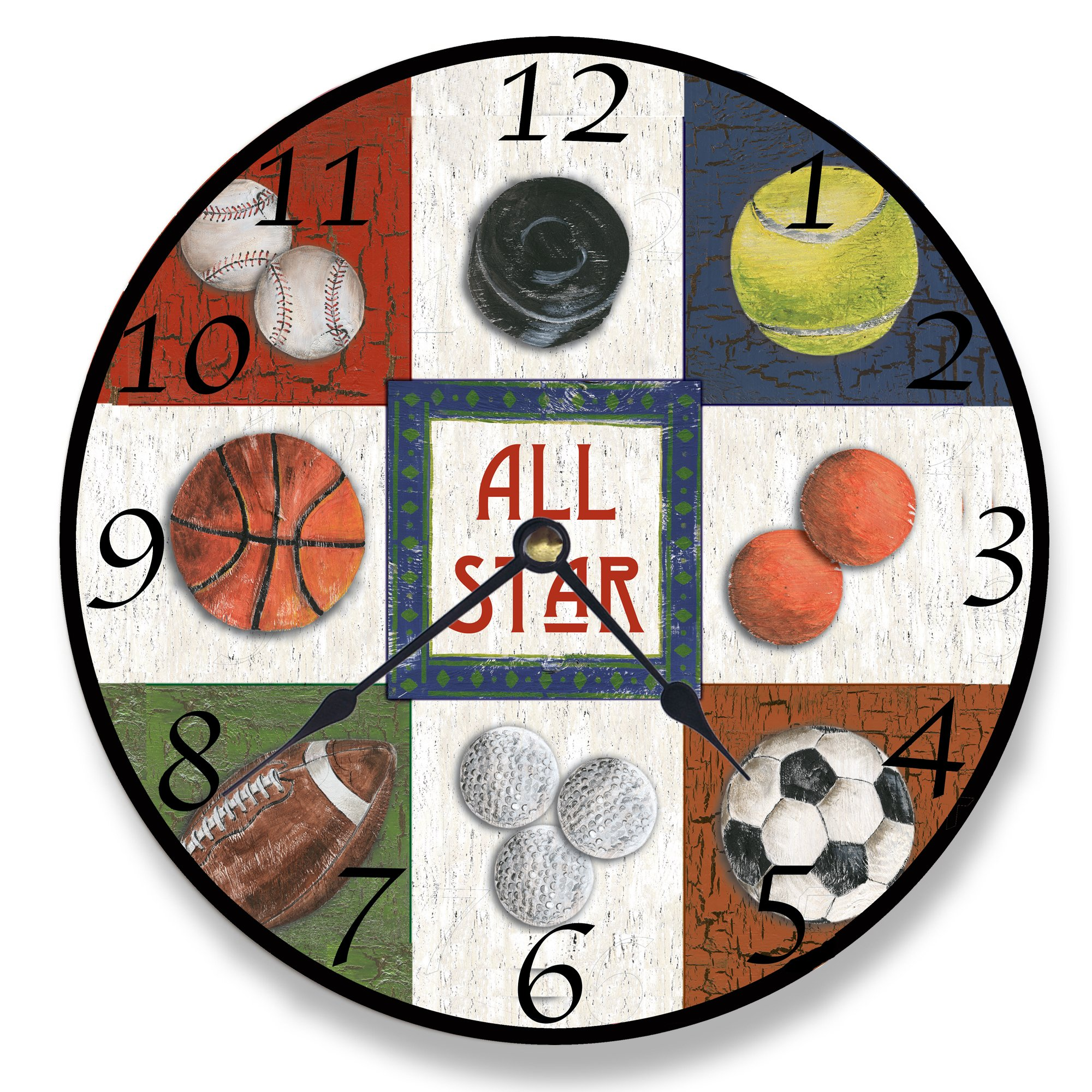 Stupell Home Décor 9 Patch All Star Sports Wall Clock, 12 x 0.4 x 12, Proudly Made in USA