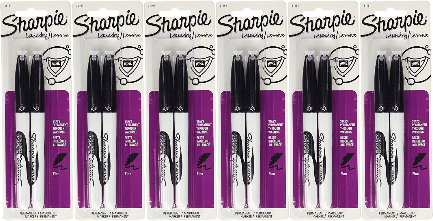 Sharpie Rub-A-Dub Fine Point Laundry Marker, Black, 2 Count (Pack of 6) 12 Markers Total