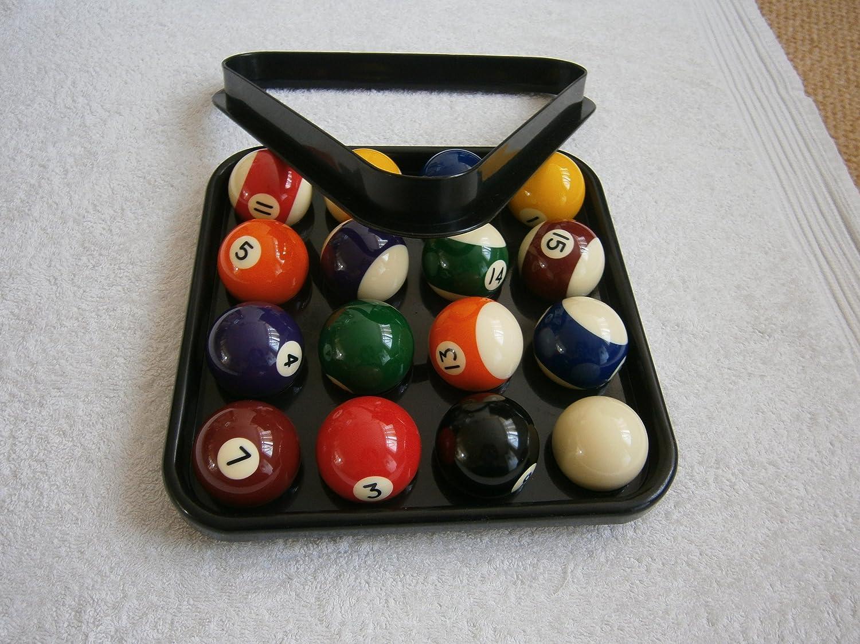 IQ Pool - Juego de bolas de billar, triángulo y bandeja de plástico (bolas numeradas rayadas y lisas, para 15 bolas de 5 cm): Amazon.es: Deportes y aire libre
