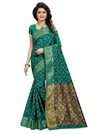 05fb833ec3 Viva N Diva Saree for Women's Green & Blue Color Banarasi Art Silk Saree  with Un-Stiched Blouse Piece, Free Size at Amazon Women's Clothing store: