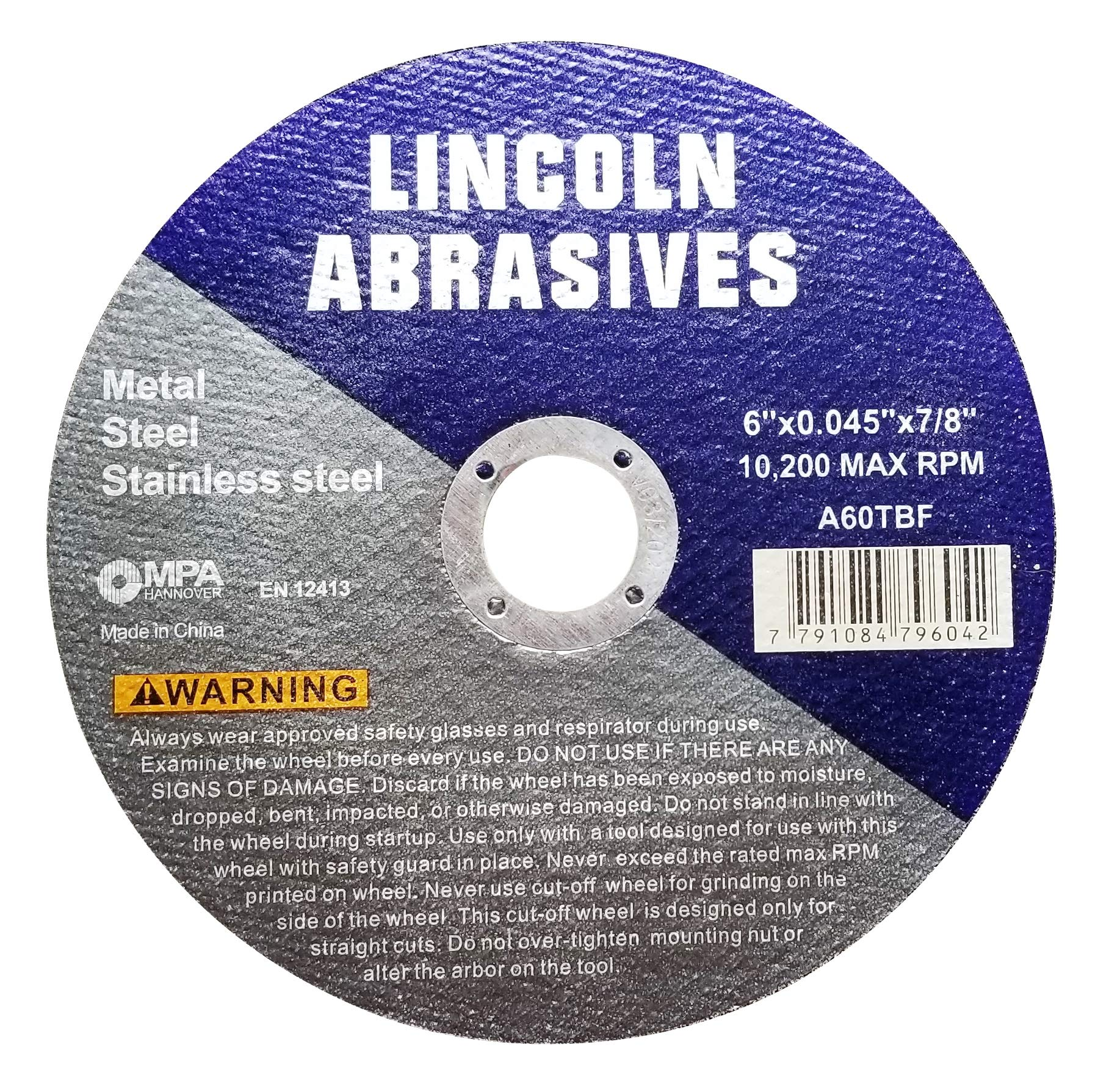 100 Pc 6''x.045''x7/8'' Cut-Off Wheels Lincoln Abrasives Metal & Stainless Steel