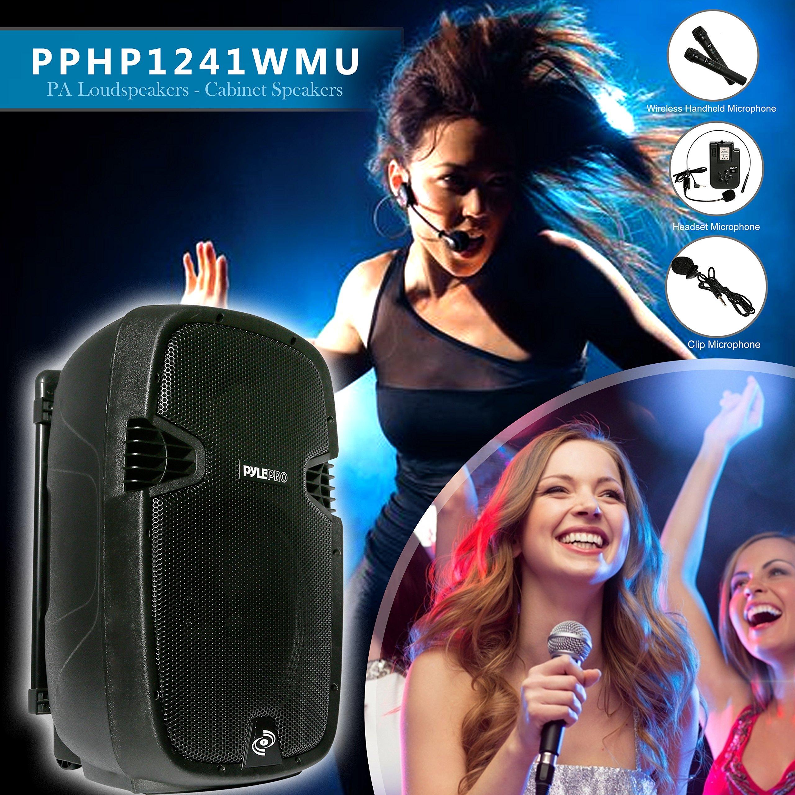 Pyle Bluetooth PA Speaker System Wireless & Portable Powered Karaoke Speaker | Built-in Rechargeable Battery | Handheld Microphone, Headset, Belt-pack | 12'' Subwoofer | 1000 Watt (PPHP1241WMU)