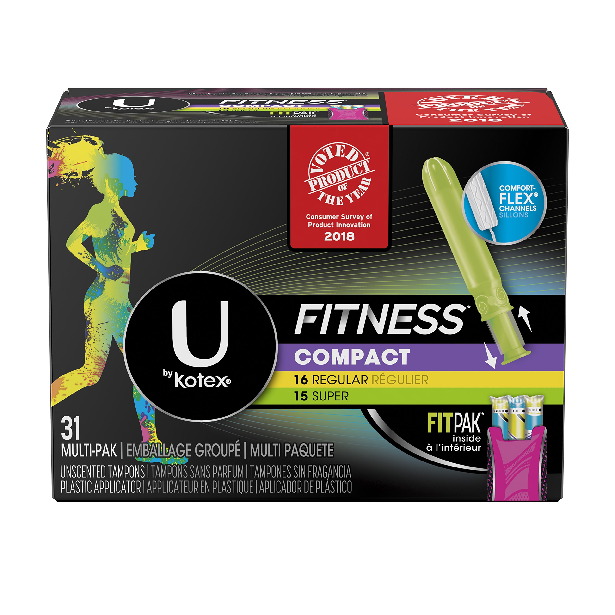 U by Kotex Fitness Tampons with FITPAK, Regular/Super Absorbency, Fregrance-Free, 31 Count, Pack of 6 (186 Total Tampons)
