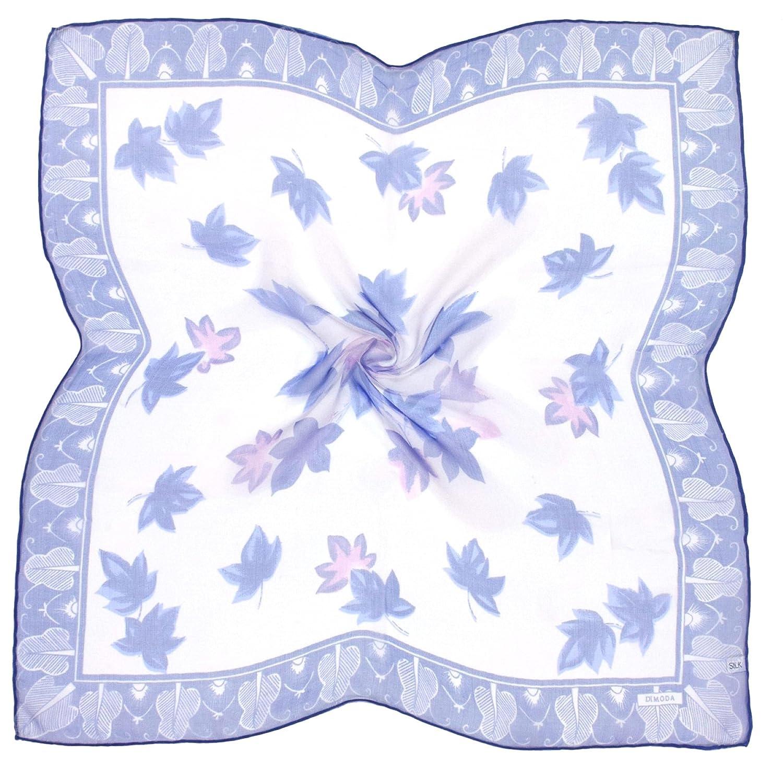 Bees Knees Fashion Bufanda - Pañuelo Cuadrado De Seda Con Estampado Fino De Hoja Azul Blanco M815