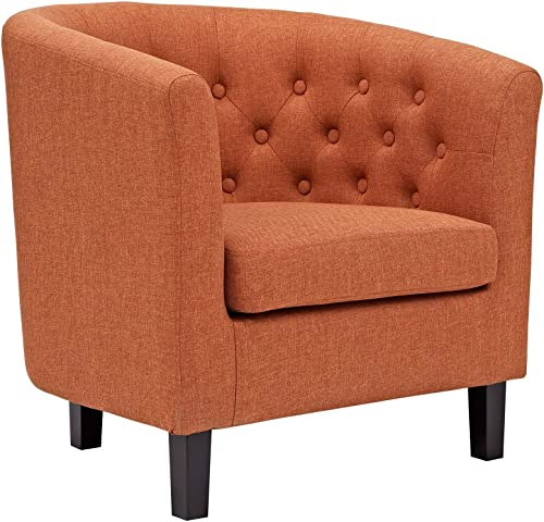 Modway Prospect Upholstered Fabric Contemporary Modern Accent Arm Chair in Orange
