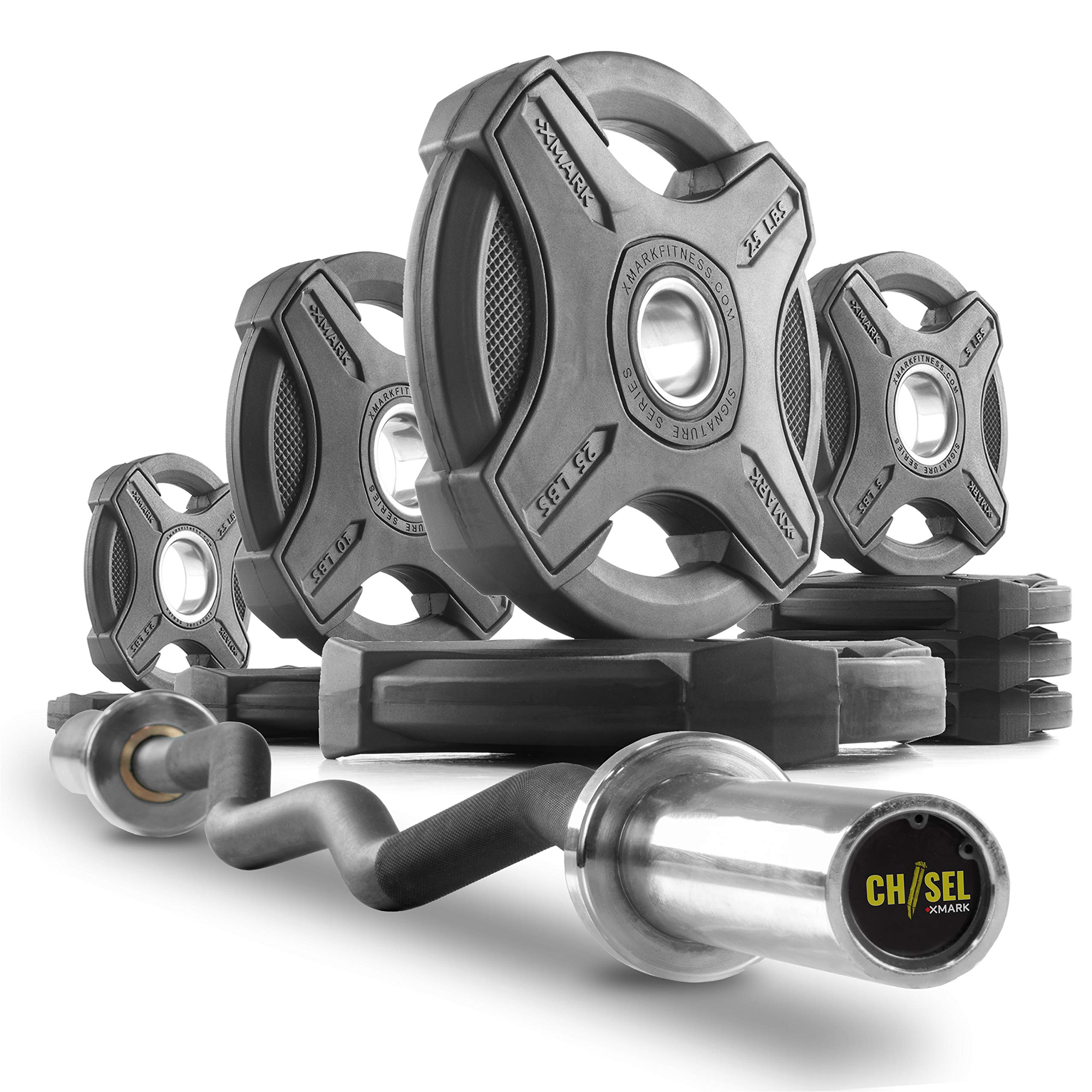 XMark Chisel Olympic Curl Bar with Signature 95 lb. Olympic Weight Plate Set, Notable Quality, Impressive Design, and Impeccable Craftsmanship