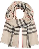 Burberry Check Wool Silk Gauze Scarf - Stone Check