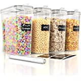 Cereal Container Storage Set - 4 Piece Airtight Food Storage Containers. BPA Free Dispenser Storage Container Set with…